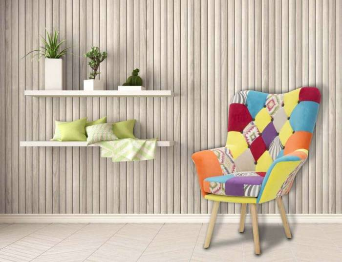 Fotoliu Cartagine, 104x86x85 cm, lemn arbore de cauciuc/ metal/ placaj/ textil, multicolor
