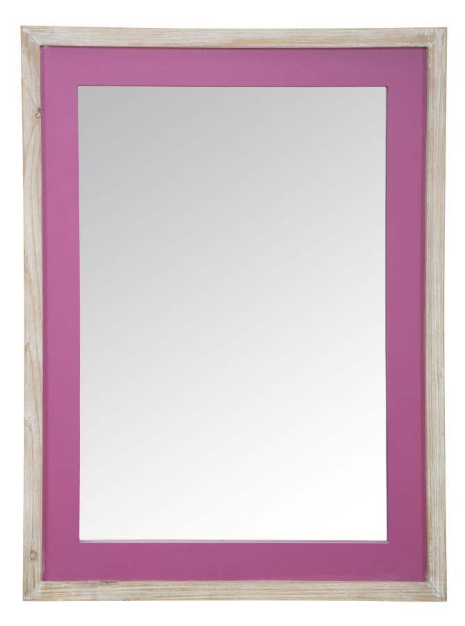 Oglindă de perete Ibiza, 80x60x2.5 cm, mdf/ sticla, roz