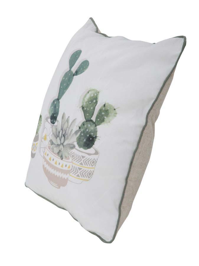 Pernă Cactus B, 45x45x6 cm, poliester, alb/ verde