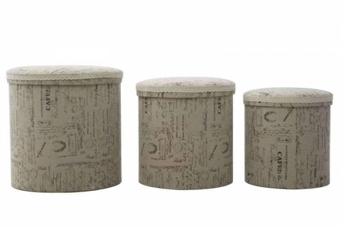 Set de trei cutii de depozitare Writings Round, bumbac, multicolor
