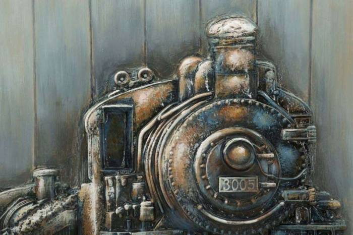 Tablou Train, 80x80x3.7 cm, lemn de pin/ plastic/ canvas, multicolor