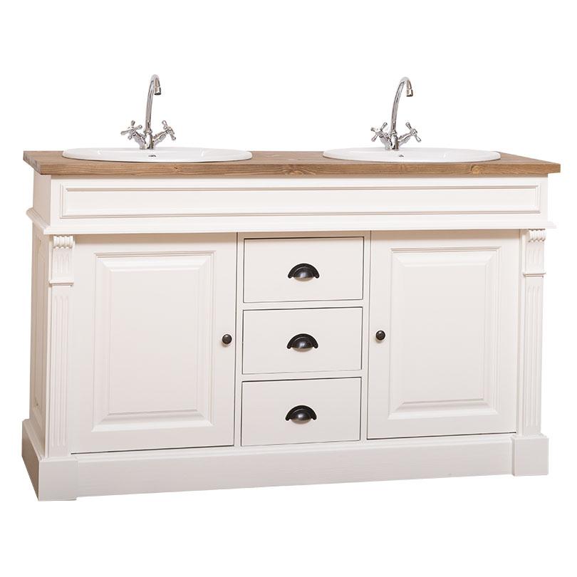 Dulap de baie pentru două lavoare Leon, lemn masiv poza