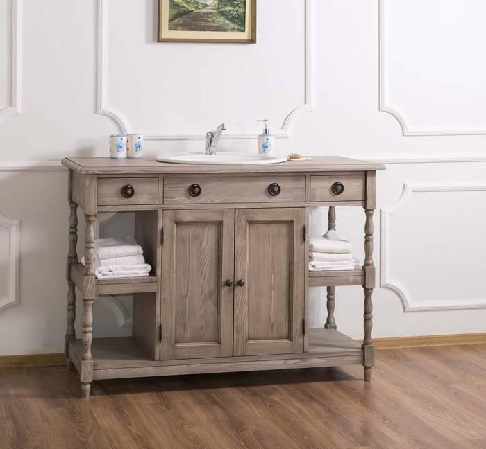 Consolă de baie cu sertare Country Corner, lemn masiv