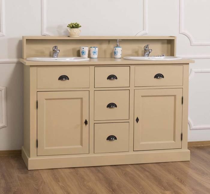 Dulap de baie pentru două lavoare Otto, lemn masiv