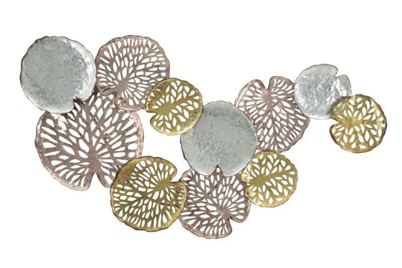 Decorațiune de perete Shine, 74x111x6.5 cm, metal, argintiu/ auriu/ cupru poza