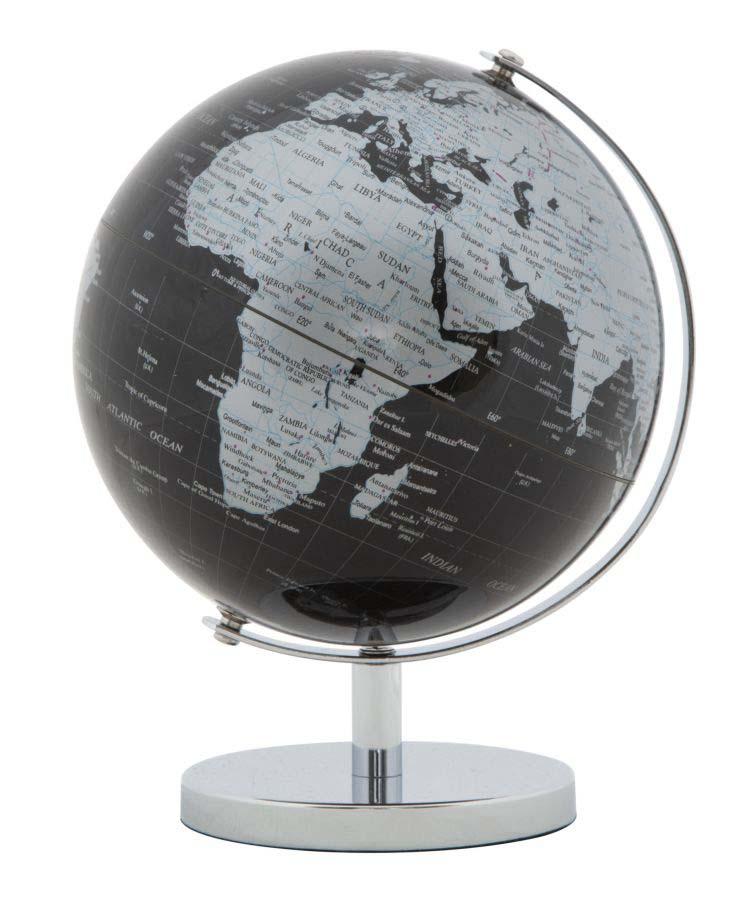 Decorațiune Globe, 17x13x13 cm, plastic/ metal, negru/ argintiu poza