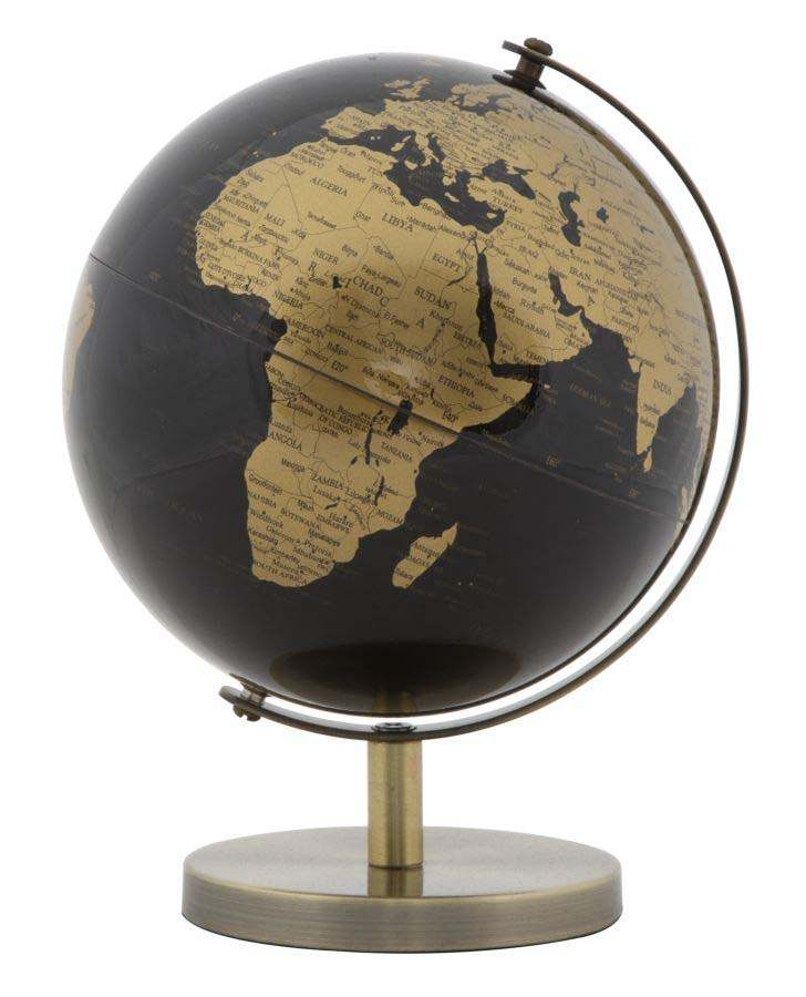 Decorațiune Globe, 17x13x13 cm, plastic/ metal, negru/ bronz poza