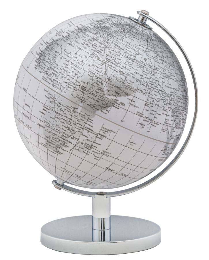 Decorațiune Globe, 28x20x20 cm, plastic/ metal, alb/ argintiu poza
