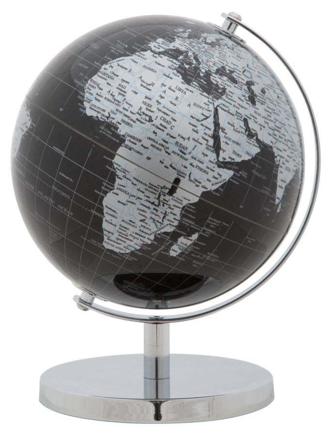 Decorațiune Globe, 28x20x20 cm, plastic/ metal, negru/ argintiu poza
