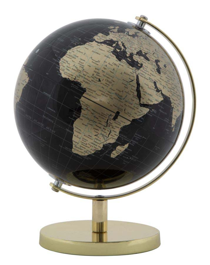 Decorațiune Globe, 28x20x20 cm, plastic/ metal, negru/ auriu poza