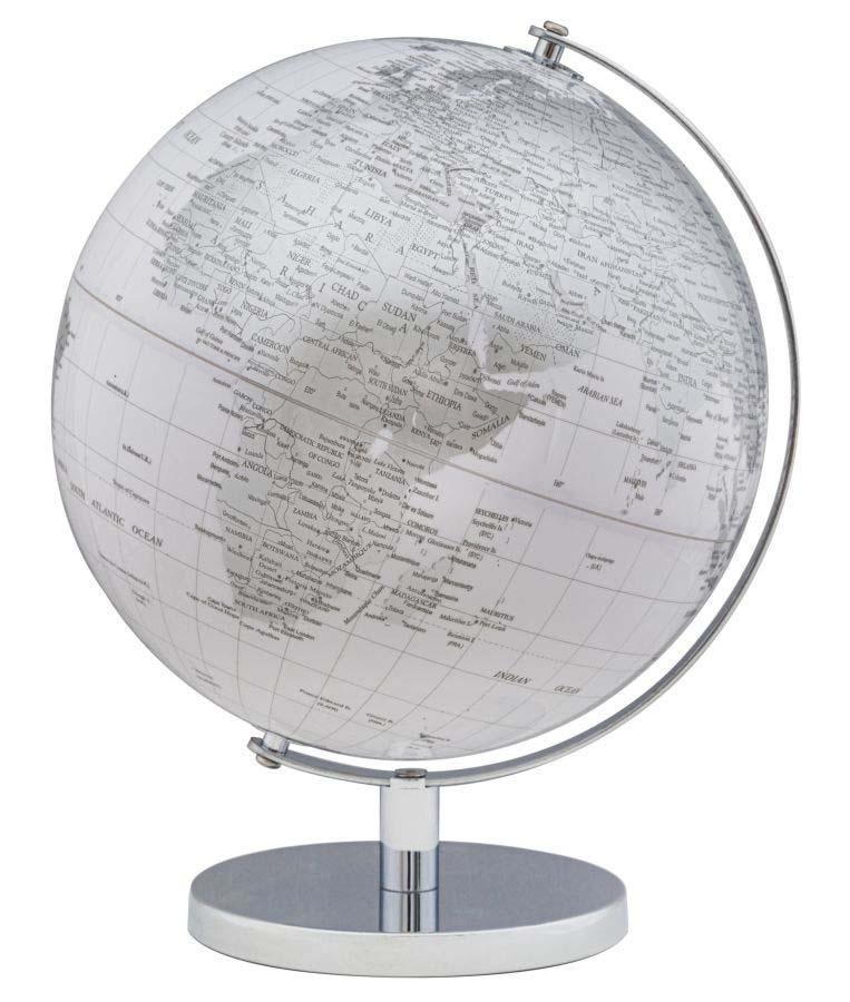 Decorațiune Globe, 34x25x25 cm, plastic/ metal, alb/ argintiu poza