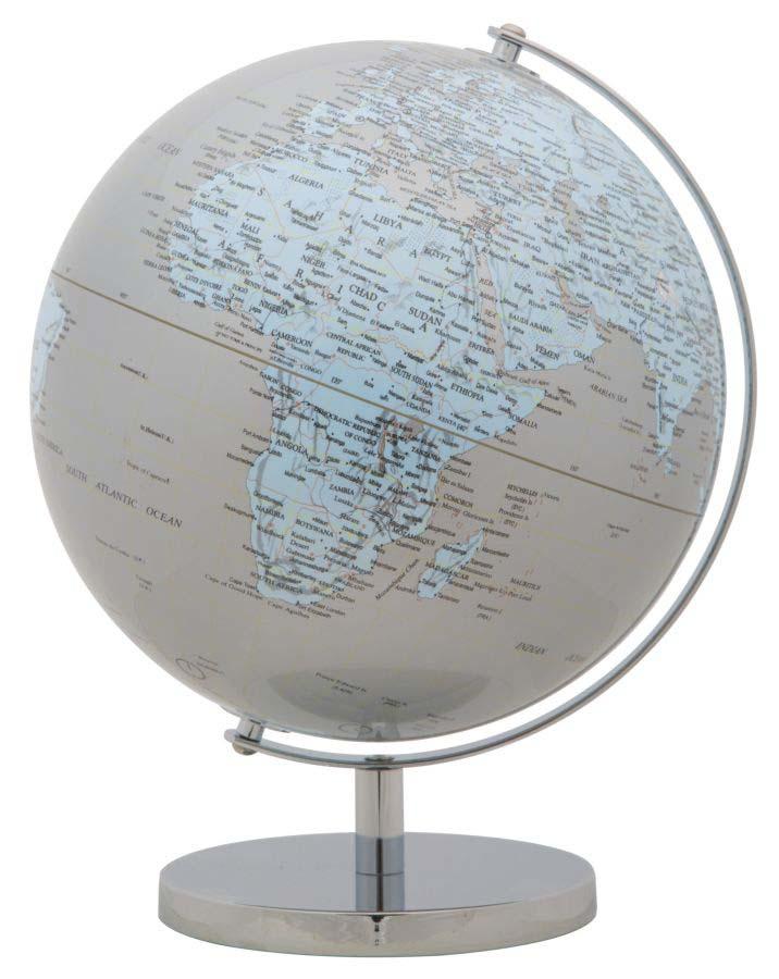 Decorațiune Globe, 34x25x25 cm, plastic/ metal, argintiu/ albastru poza