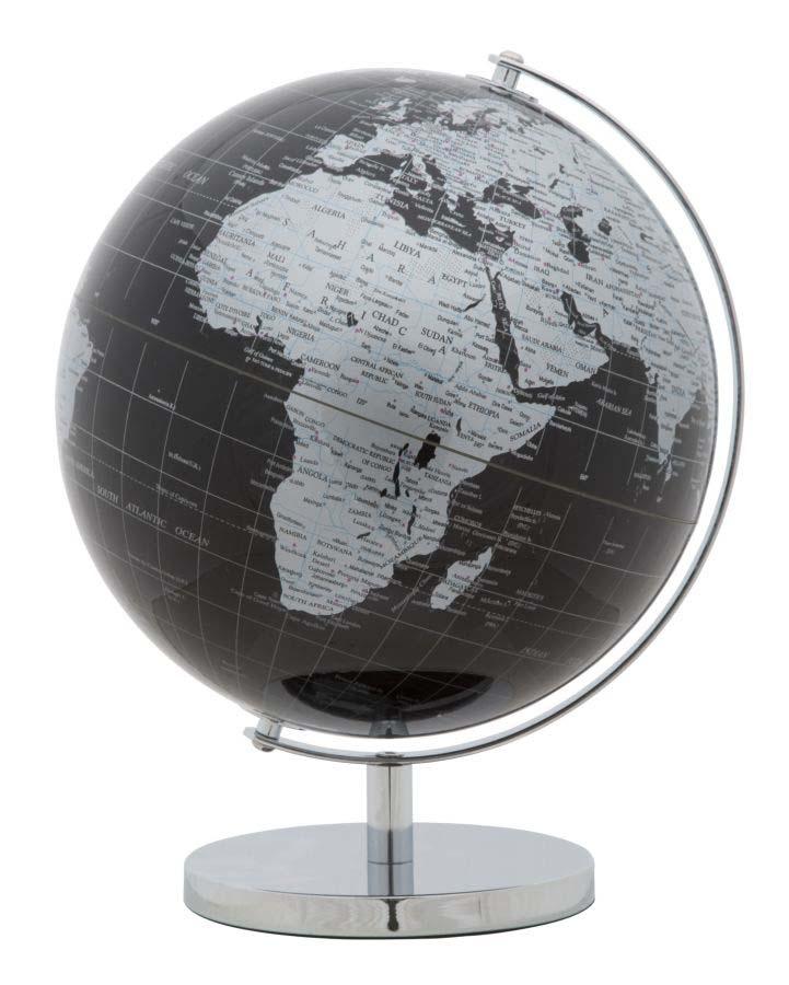 Decorațiune Globe, 34x25x25 cm, plastic/ metal, negru/ argintiu poza