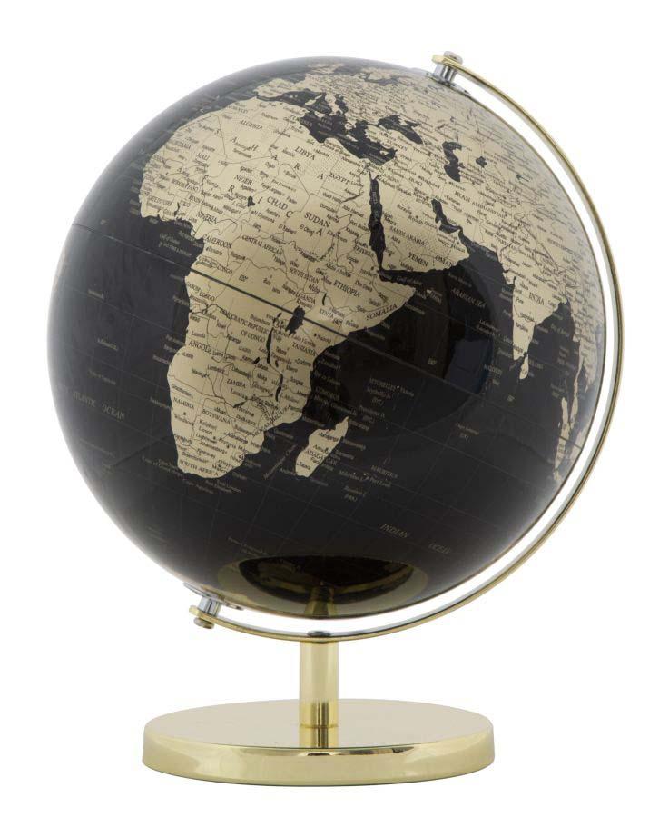 Decorațiune Globe, 34x25x25 cm, plastic/ metal, negru/ auriu poza