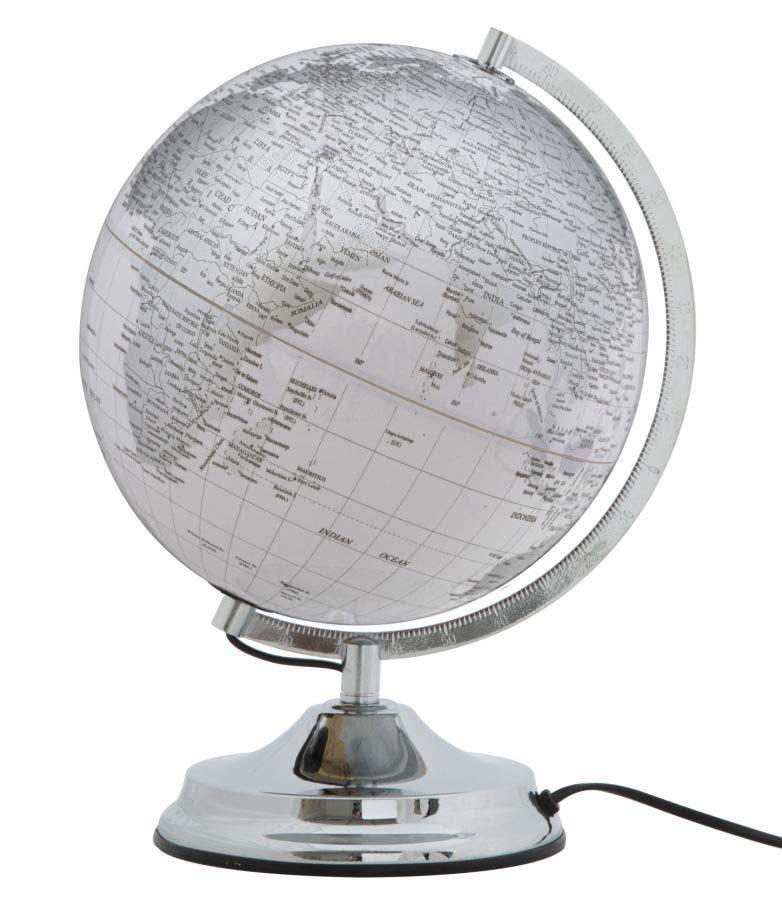 Decorațiune luminoasă Globe, 38x25x25 cm, plastic/ metal, alb/ argintiu poza