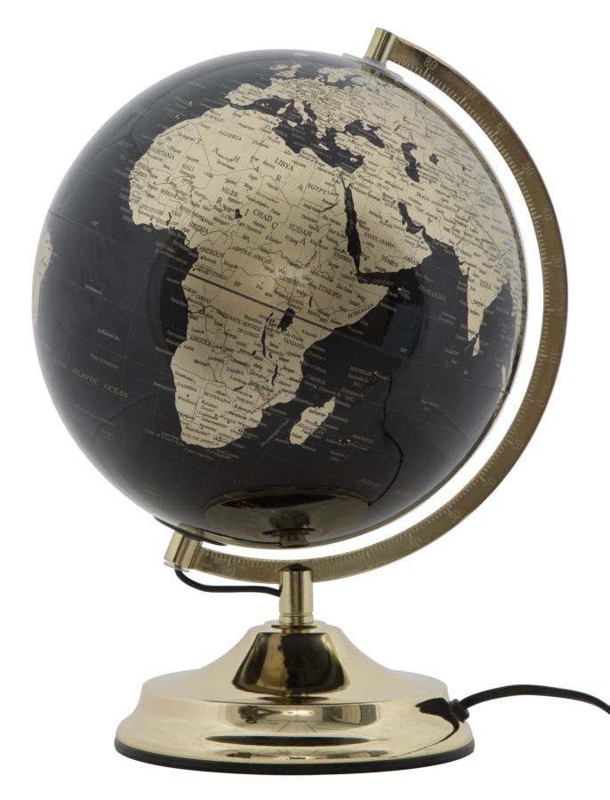 Decorațiune luminoasă Globe, 38x25x25 cm, plastic/ metal, negru/ auriu poza