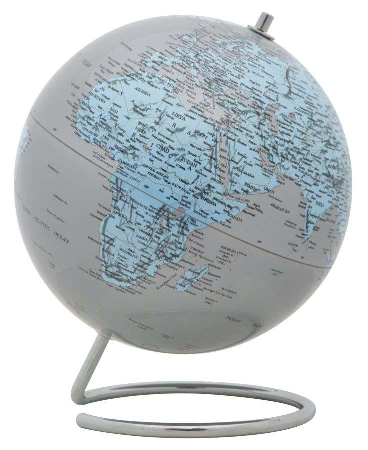 Decorațiune Mappamondo, 25x20x20 cm, plastic/ metal, argintiu/ albastru poza