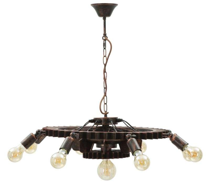 Lustră Ingranaggio, 16x73.5x73.5 cm, metal/ lemn, negru/ cupru poza