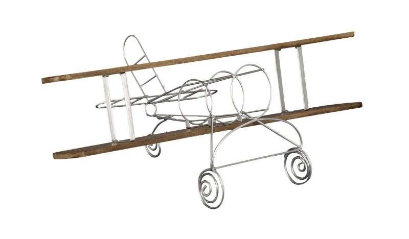 Suport pentru sticle Aviator, 22x67.7x38 cm, lemn/ metal, argintiu/ maro poza