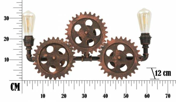 Aplică Ingranaggio, 32x60x12 cm, metal/ lemn, cupru
