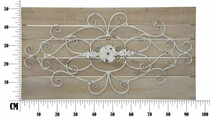Decorațiune de perete Lemny, 50.5x97.5x3.5 cm, metal/ lemn de brad, alb/ maro