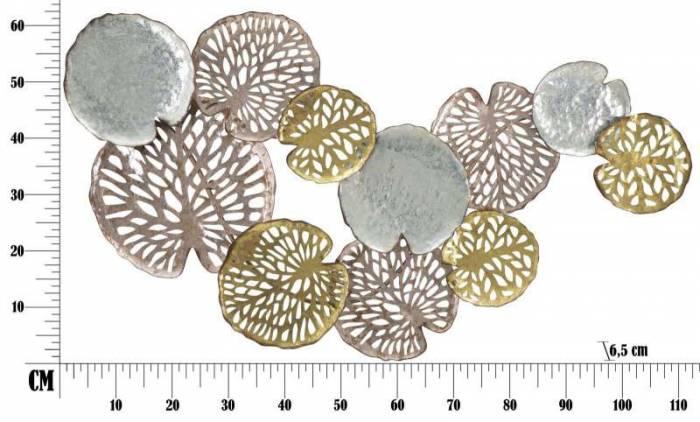 Decorațiune de perete Shine, 74x111x6.5 cm, metal, argintiu/ auriu/ cupru
