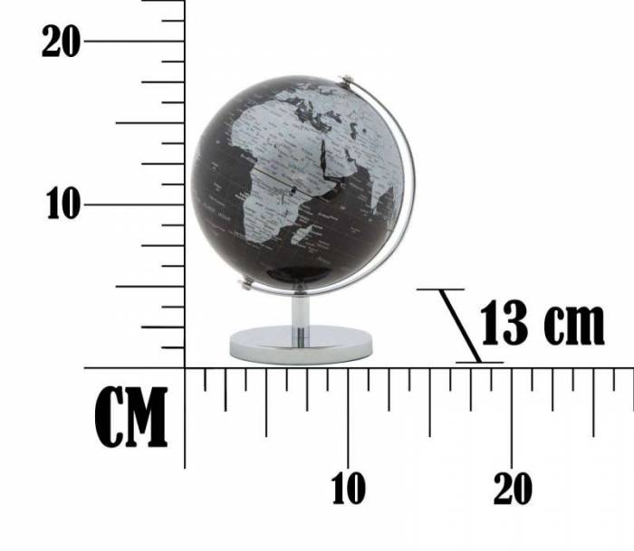 Decorațiune Globe, 17x13x13 cm, plastic/ metal, negru/ argintiu