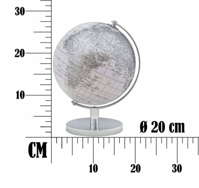 Decorațiune Globe, 28x20x20 cm, plastic/ metal, alb/ argintiu