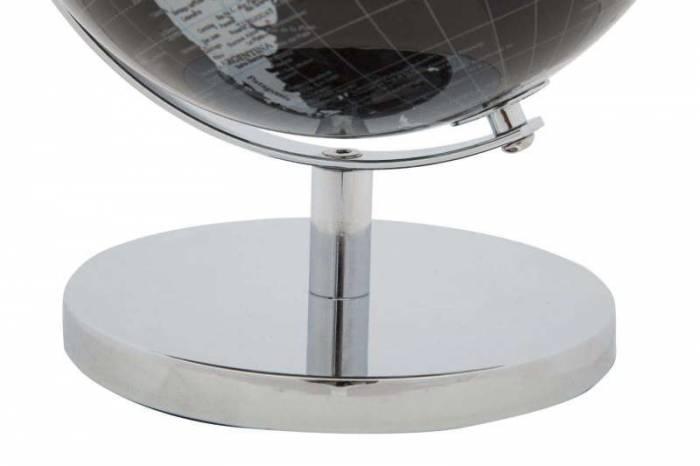 Decorațiune Globe, 28x20x20 cm, plastic/ metal, negru/ argintiu
