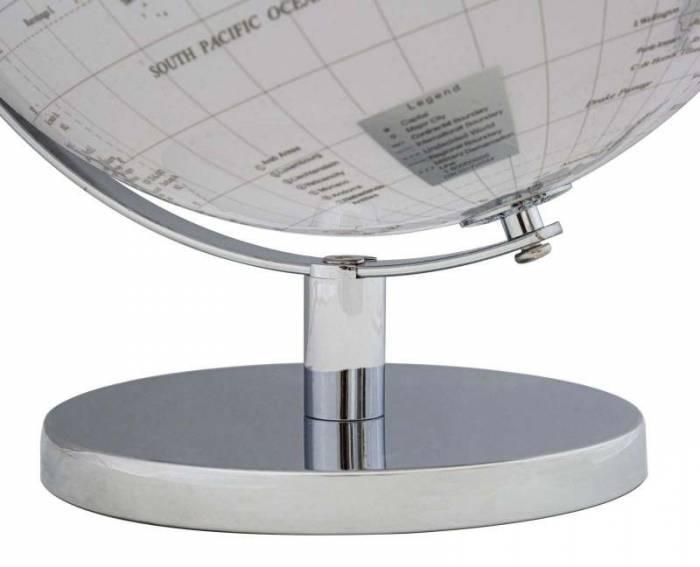 Decorațiune Globe, 34x25x25 cm, plastic/ metal, alb/ argintiu