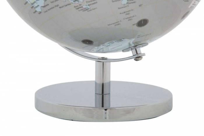 Decorațiune Globe, 34x25x25 cm, plastic/ metal, argintiu/ albastru