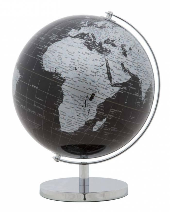Decorațiune Globe, 34x25x25 cm, plastic/ metal, negru/ argintiu