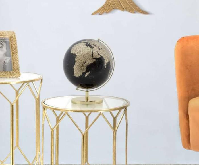 Decorațiune Globe, 34x25x25 cm, plastic/ metal, negru/ auriu