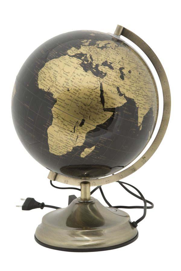 Decorațiune luminoasă Globe, 38x25x25 cm, metal/ plastic, negru/ auriu