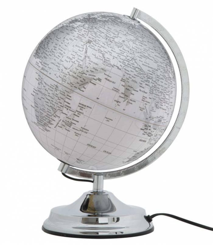 Decorațiune luminoasă Globe, 38x25x25 cm, plastic/ metal, alb/ argintiu