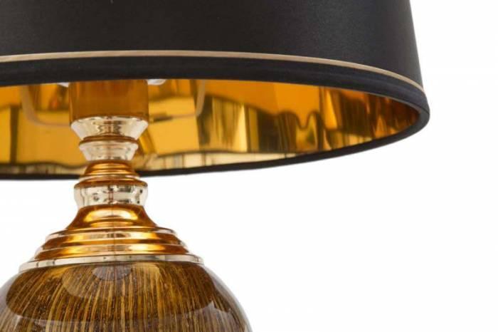 Lampadar Fashion Glam, 182x35x35 cm, meta/ plastic/ poliester, negru/ auriu