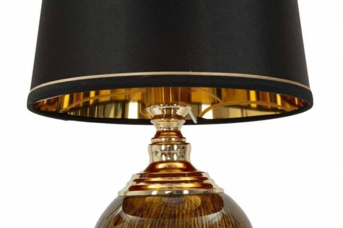 Lampadar Fashion Glam, 81x27x27 cm, meta/ plastic/ poliester, negru/ auriu