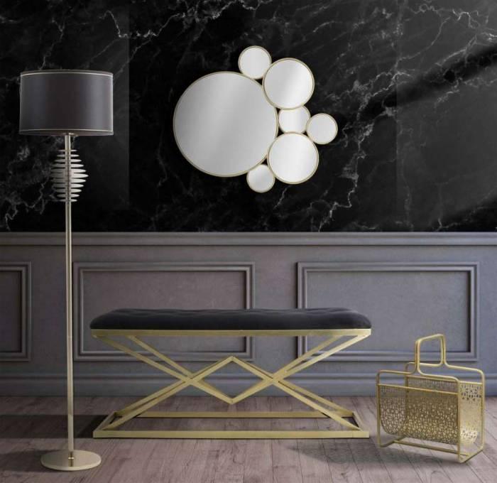 Lampadar Glam, 180x40x40 cm, meta/ plastic/ poliester, negru/ auriu