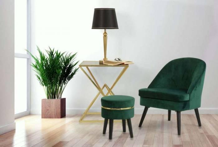 Lampadar Stilo Glam, 65x32x32 cm, meta/ plastic/ poliester, negru/ auriu
