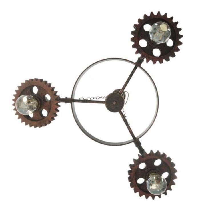 Lustră cu trei becuri Ingranaggio, 104x54x54 cm, metal/ lemn, negru/ cupru