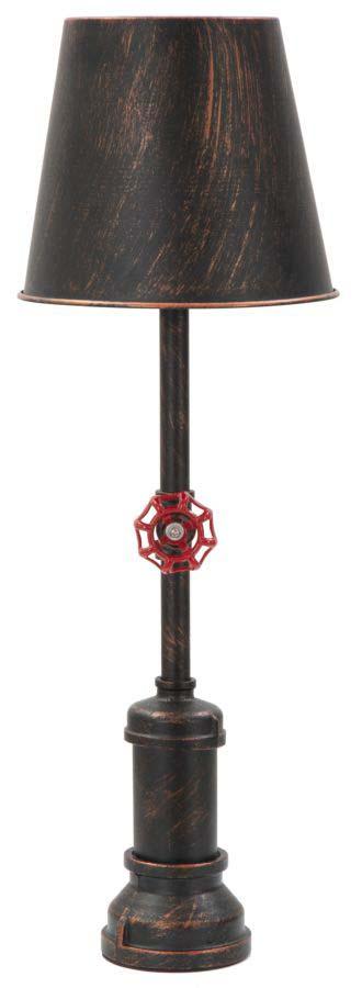 Veioză Manhattan, 64x21x21 cm, metal, negru/ cupru/ rosu