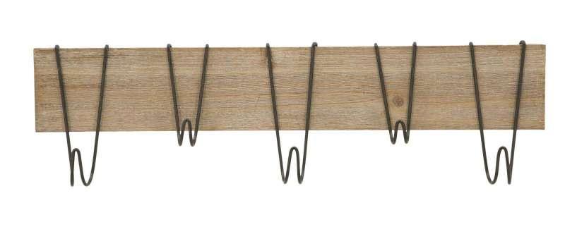 Cuier Wood, 20x72x7 cm, metal/ mdf, maro poza