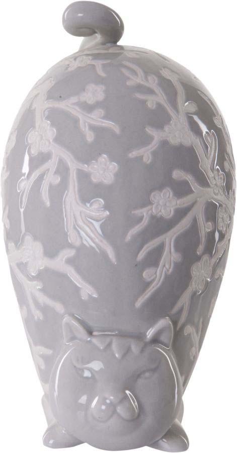 Decorațiune Cat, 17.5x15x8 cm, ceramica, gri poza
