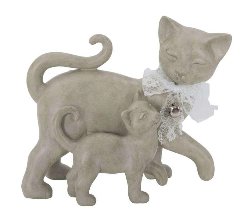 Decorațiune Cat and Puppy, 17.5x19x9.5 cm, polirasina, alb poza
