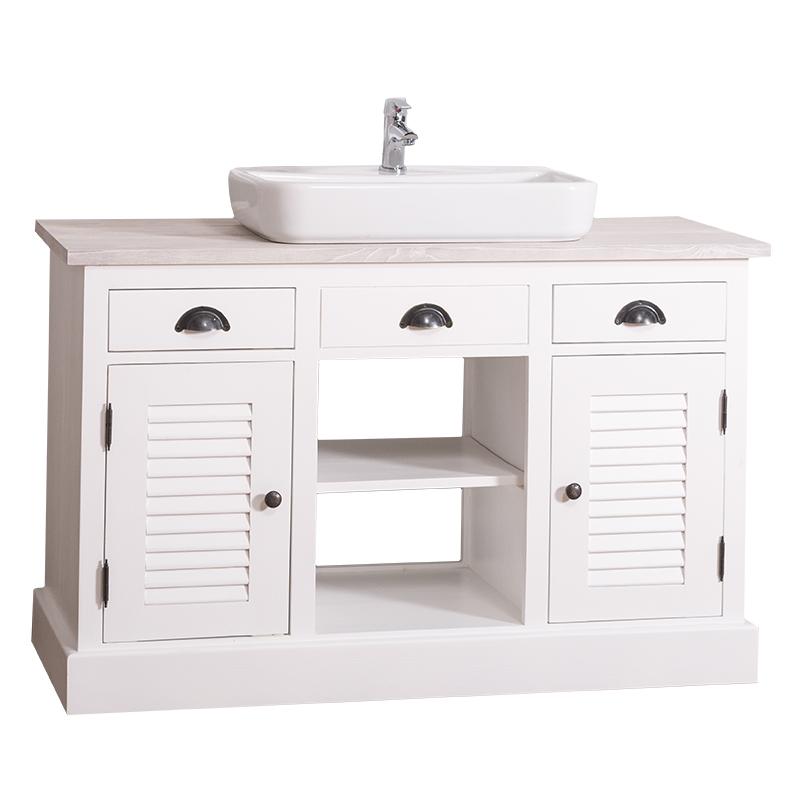 Dulap de baie cu uși, sertare și poliță Austral, lemn masiv poza