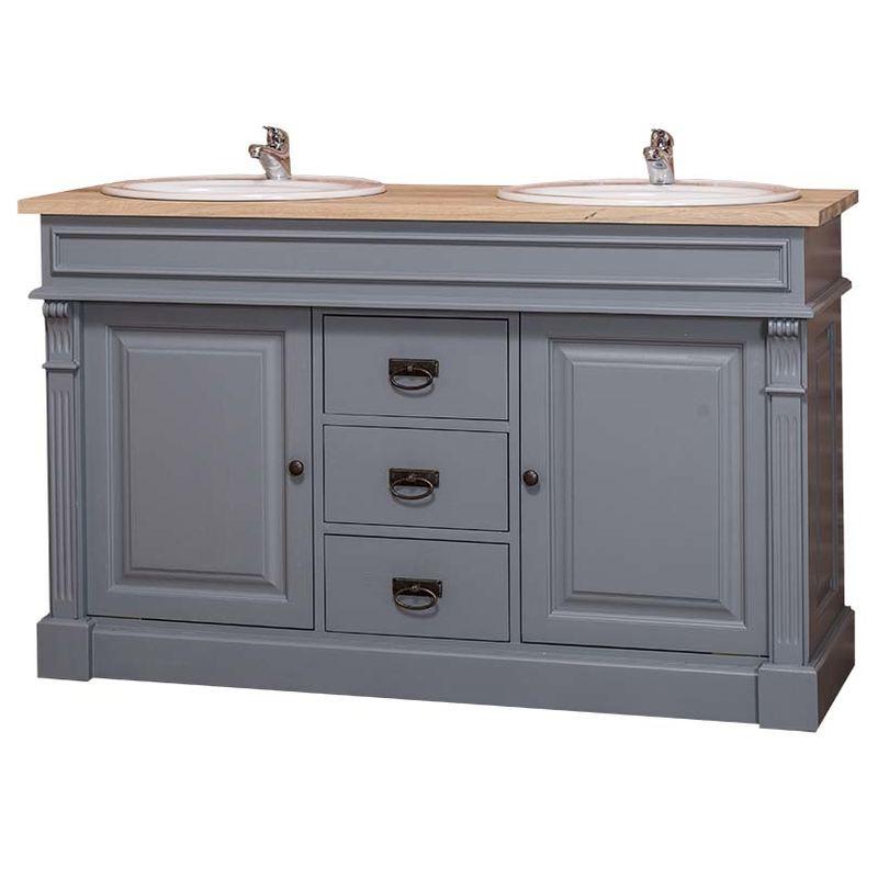 Dulap de baie pentru două lavoare Cardon, lemn masiv poza