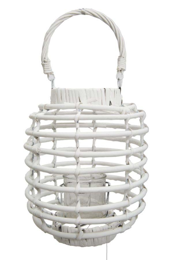 Felinar Rope Grande, 32x25x25 cm, ratan, alb poza