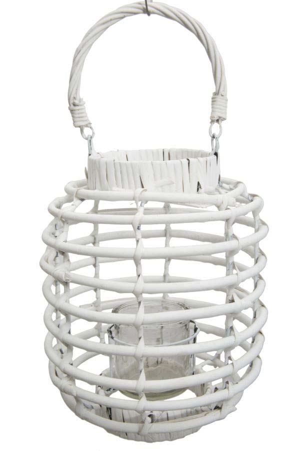 Felinar Rope Picc, 27x20x20 cm, ratan, alb poza