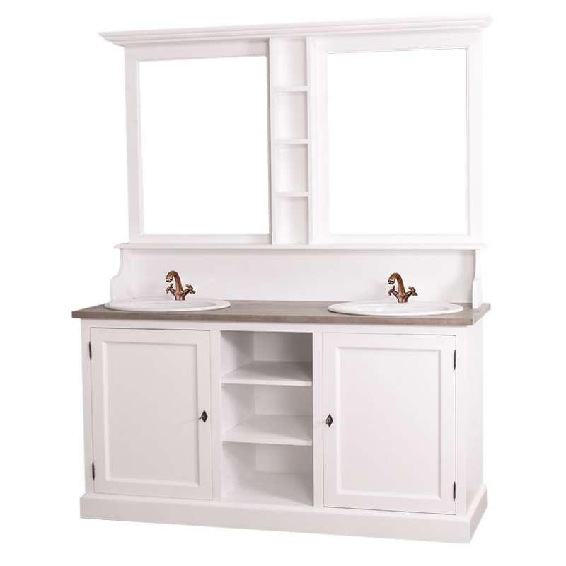 Set mobilier baie pentru două lavoare Cardon, lemn masiv poza