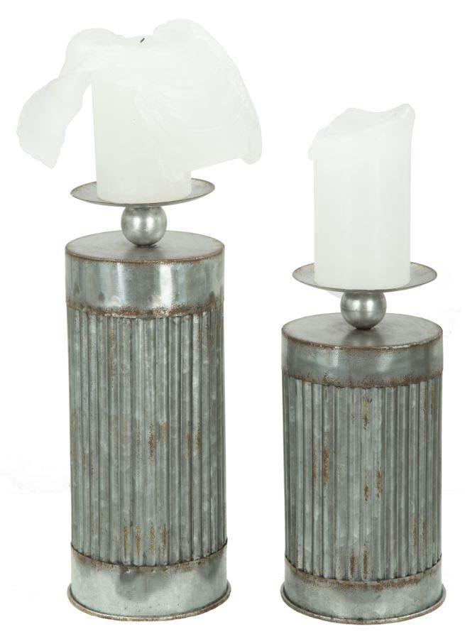 Set suport lumânare Illinois, metal, argintiu poza